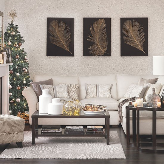 Neutral Christmas Living Room Decorating Ideal Home
