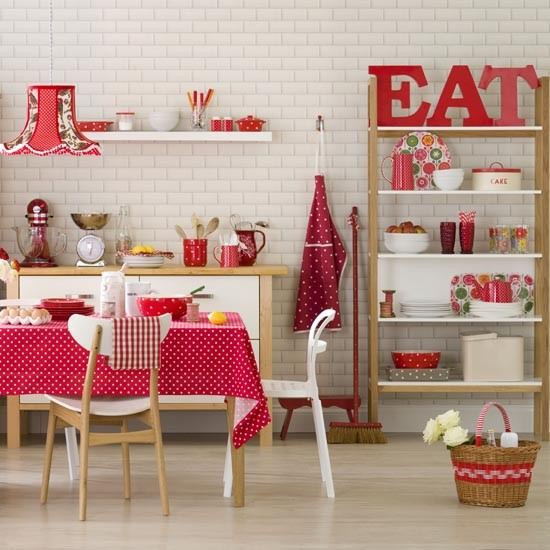 Red and white family kitchen diner family kitchen design for Retro kitchen ideas uk
