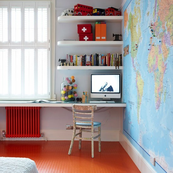White room with wall map and orange rubber floor | Modern children's room design ideas | PHOTO GALLERY | Livingetc | Housetohome.co.uk