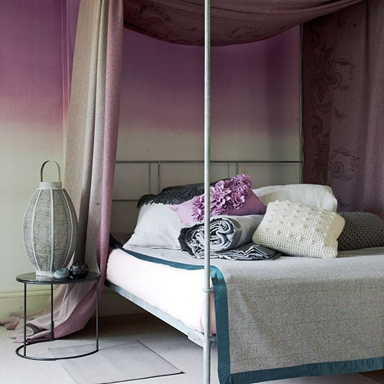 Romantic Bedroom With Dusky Pink Four Poster Canopy
