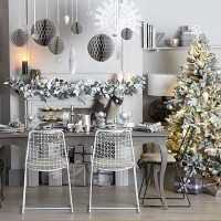 Grey and silver Christmas dining room