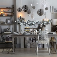Silver and grey Christmas dining room