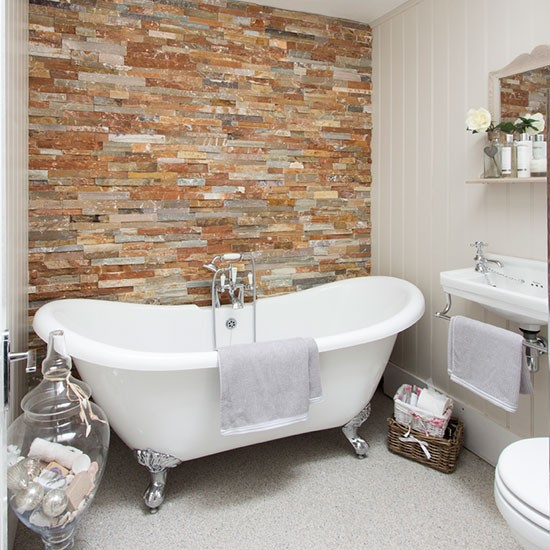 Panelled bathroom with freestanding bath decorating for Ideal home bathroom ideas