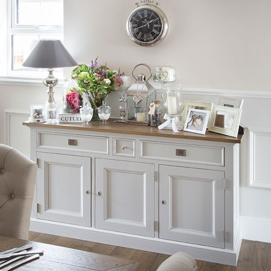 Cream dining room sideboard decorating for Dining room sideboard
