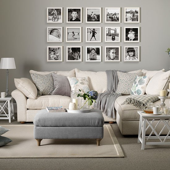 Grey and taupe living room with photo display decorating Taupe room ideas