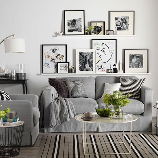 White living room with photo display decorating for Living room ideas uk grey
