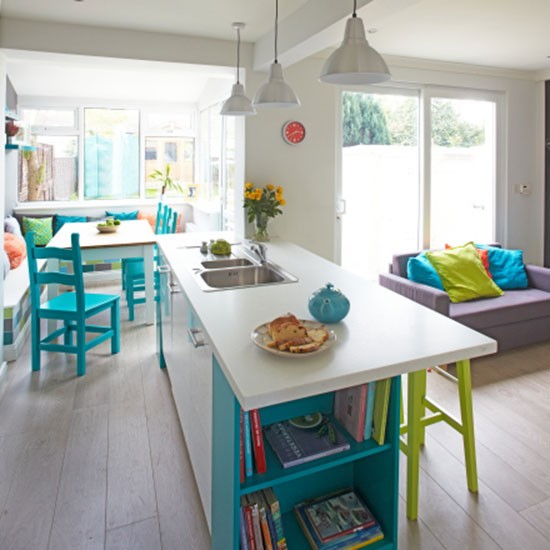 White kitchen with turquoise chairs  Kitchen decorating  Ideal Home
