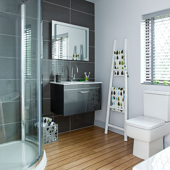 Modern Charcoal And White Bathroom Decorating