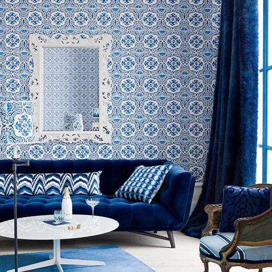 Moroccan blue living room spring decorating ideas photo gallery