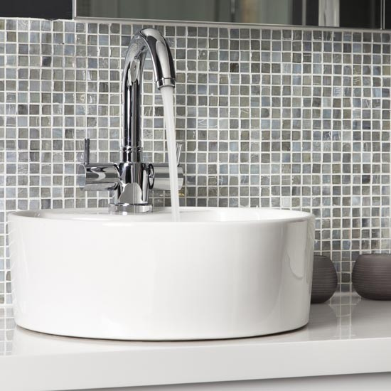 Mosaic tiled splashback makeover glamorous grey for Sink splashback ideas