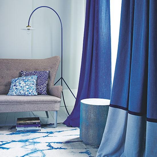 Blue Living Room With Indigo Curtains Decorating