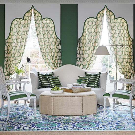 Cream And Green Traditional Living Room Decorating