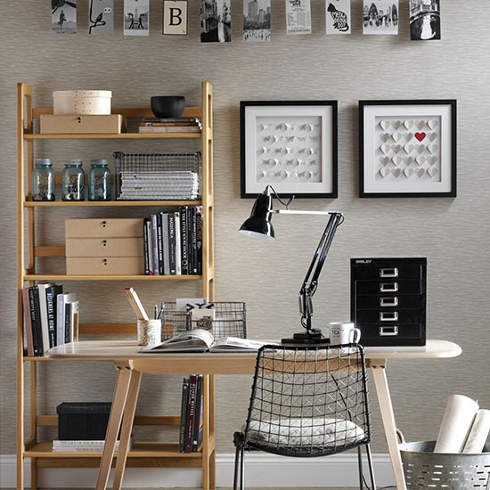 Neutral home office with black accessories  Decorating ...