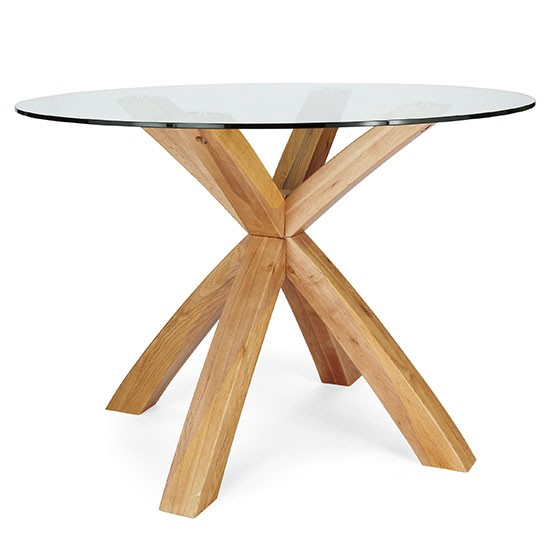 Oak and glass round four seater dining table from next for 110cm round glass dining table