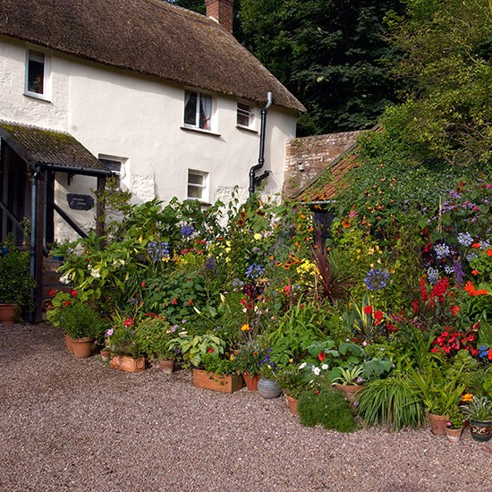 Large scale potted display in country forecourt front for Front garden design ideas uk