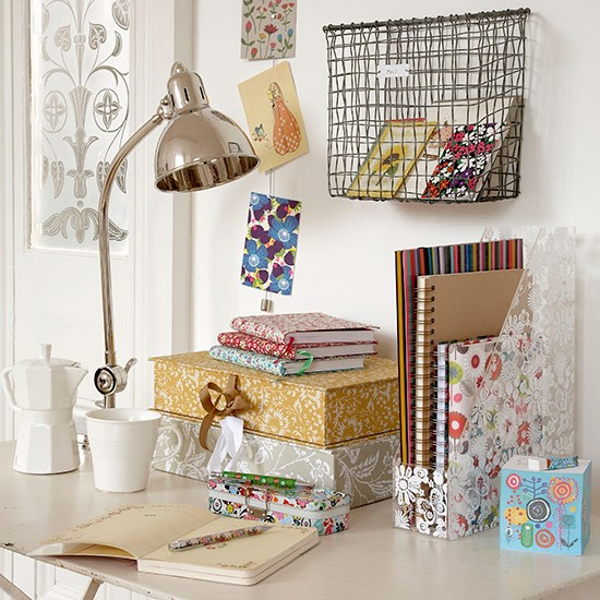 Home office stationery store, including decorative boxes and a wire basket