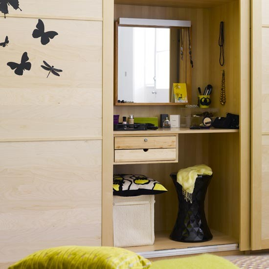 built in dressing table behind sliding doors sliding
