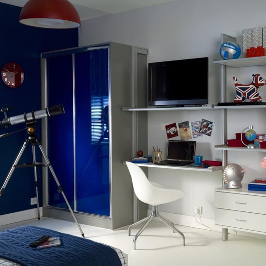 Bright Hi-gloss Wardrobes In Teenager's Bedroom