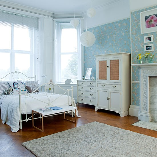 large duck egg blue bedroom decorating