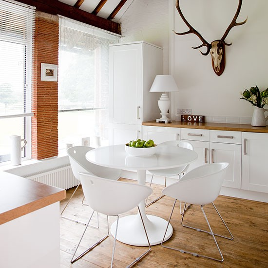 White and wood scandi dining room