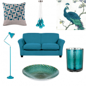 On-trend teal living room