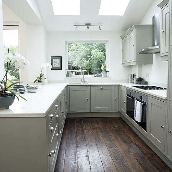 White shaker style kitchen with grey units decorating for Shaker kitchen designs