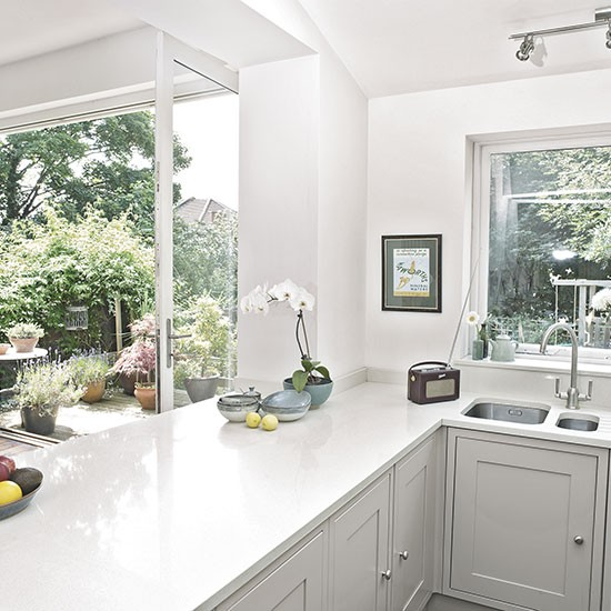 White shaker style kitchen decorating for Shaker style kitchen uk