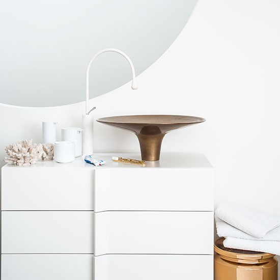 White bathroom with bronze basin | Modern bathroom | PHOTO GALLERY | Livingetc | Housetohome.co.uk