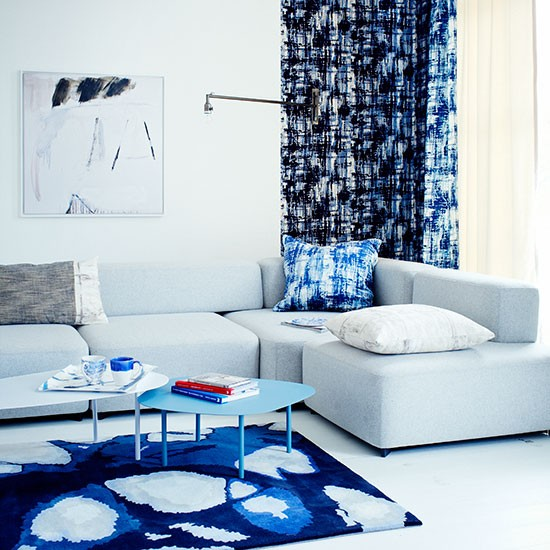 Blue And White Painterly Living Room Decorating