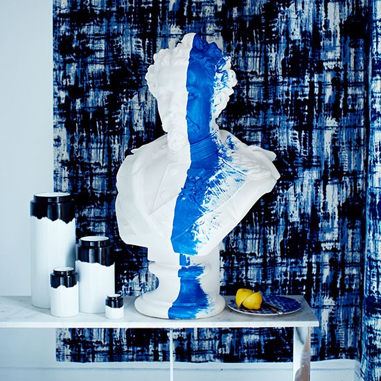 Blue Painterly Hallway With Plaster Bust Decorating