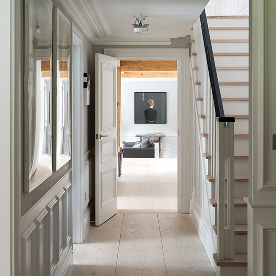 Traditional Pale Neutral Hallway Decorating