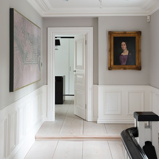 Pale Grey Panelled Hallway Decorating Housetohomecouk