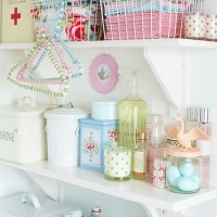 Utility room shelving with pretty storage