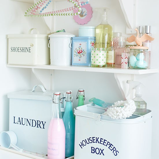 Shabby Chic Utility Room Shelving Decorating