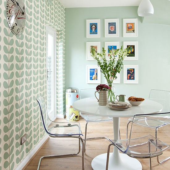 Pale green modern retro dining area decorating - Pale green dining room ...