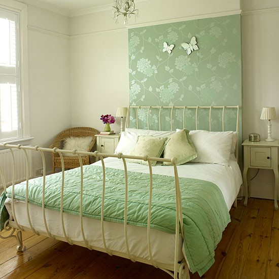 Cream Bedroom With Green Wallpaper Panel Decorating