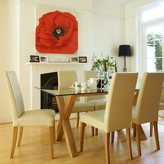 Neutral dining room with statement canvas decorating for Canvas dining room