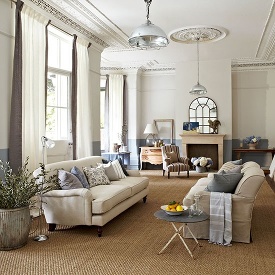 Neutral Sitting Room With Eclectic Accessories Country