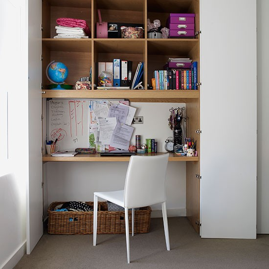 Home office with alcove desk shelving and doors modern storage ideas decorating - Home office door ideas ...