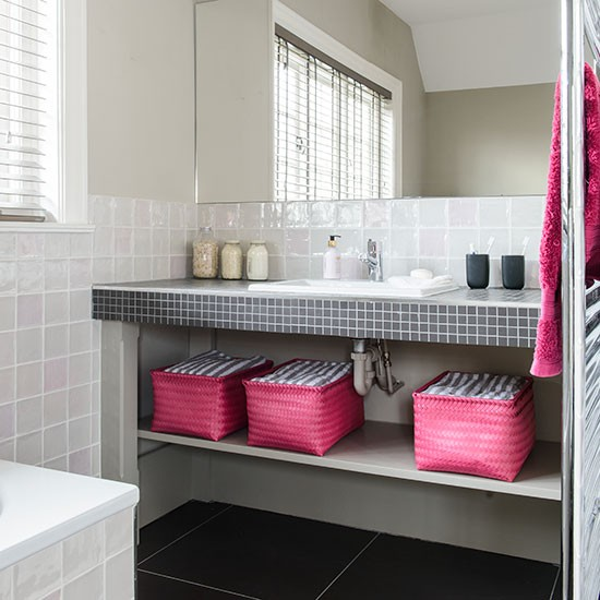 White bathroom with pink and black accents decorating Pink bathroom ideas pictures