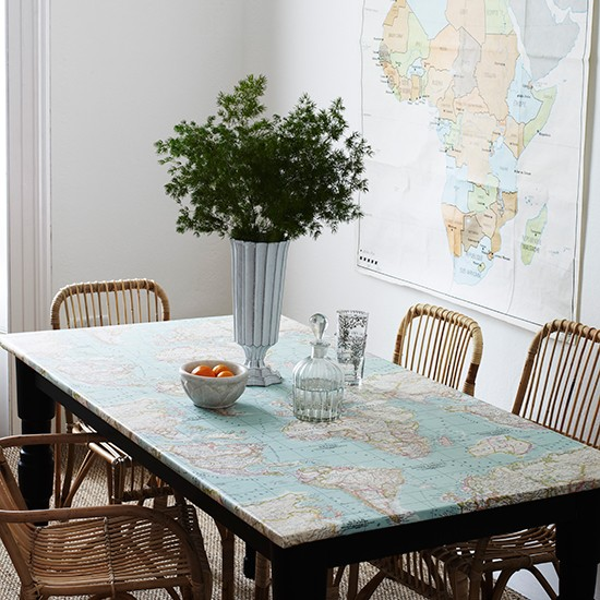 Dining room with map oilcloth Finishing touches maps  : KitchentableFinishingTouchesCarolynBarber from www.housetohome.co.uk size 550 x 550 jpeg 96kB