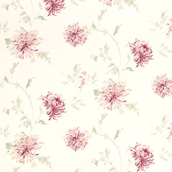 Ninette Berry Pink Floral Wallpaper From Laura Ashley