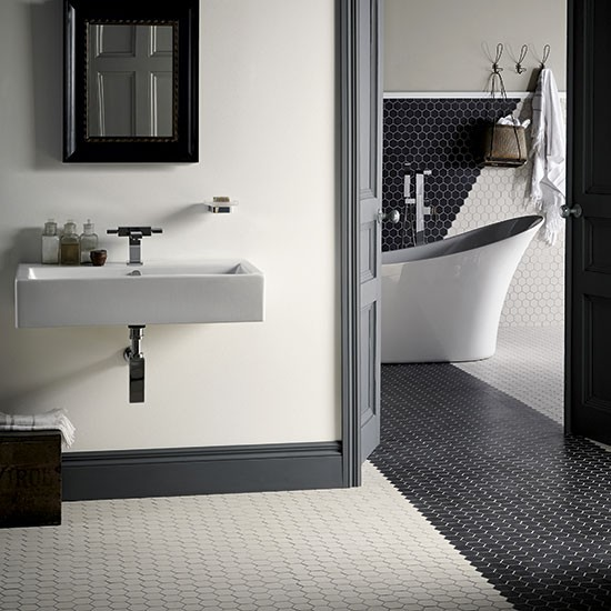 Geometric hexagon mosaic bathroom floor tiles from fired for Fired earth bathroom ideas