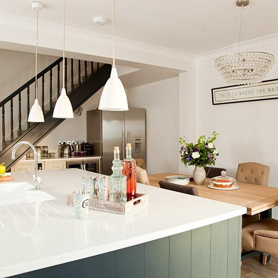 Grey Kitchen White Worktop: White Kitchen-diner Worktops