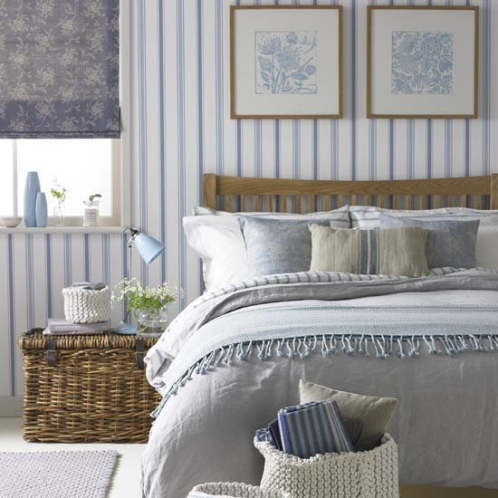 Blue and white striped bedroom | Traditional bedroom design ideas | Bedroom | PHOTO GALLERY | Ideal Home | Housetohome.co.uk