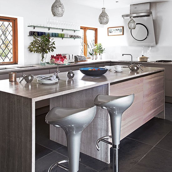 Modern kitchen with silver fixtures  Kitchen decorating  25
