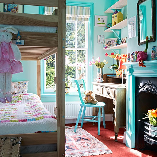 Blue Childrens Bedroom With Bunkbed Decorating
