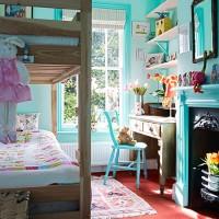 Blue children's bedroom with bunkbed