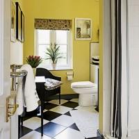 Yellow and monochrome bathroom