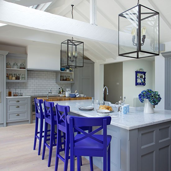 Shaker-style kitchen with painted stools | Painted kitchen design ideas | Kitchen decorating | PHOTO GALLERY | Beautiful Kitchens | Housetohome.co.uk